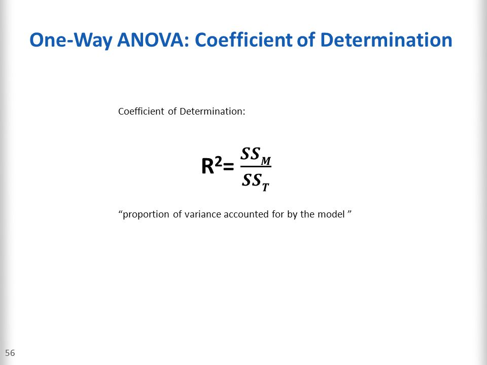 One-Way ANOVA: Coefficient of Determination