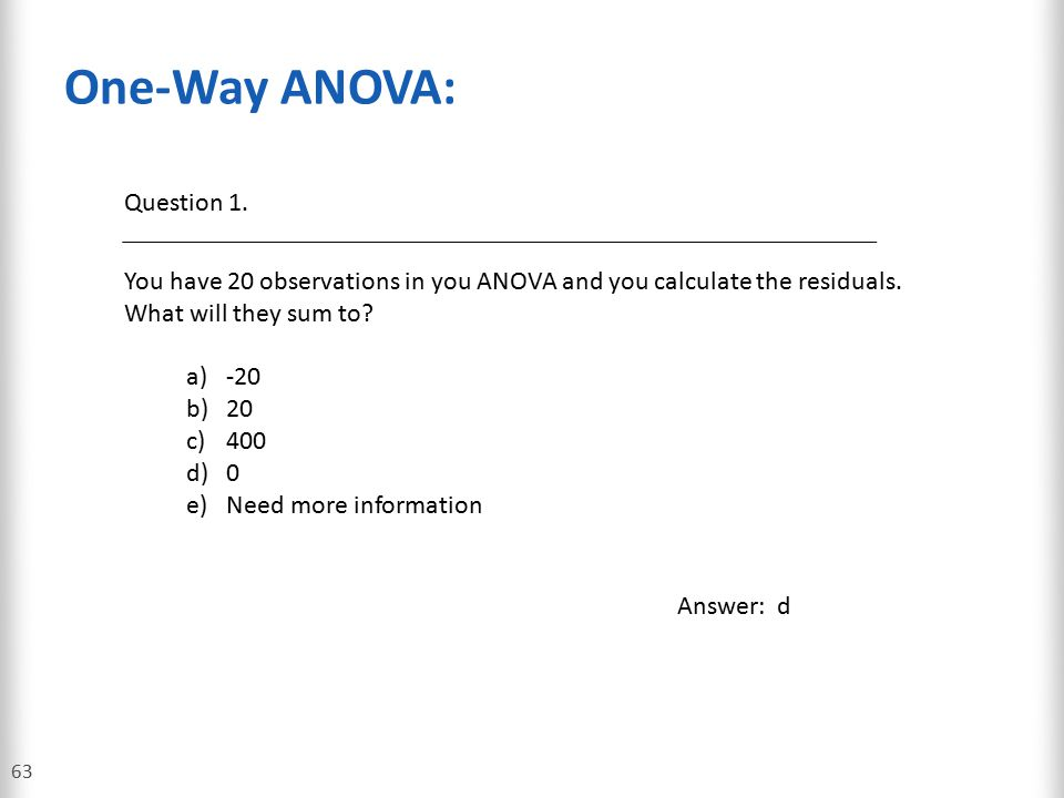 One-Way ANOVA: Question 1.
