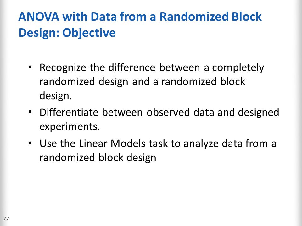 ANOVA with Data from a Randomized Block Design: Objective