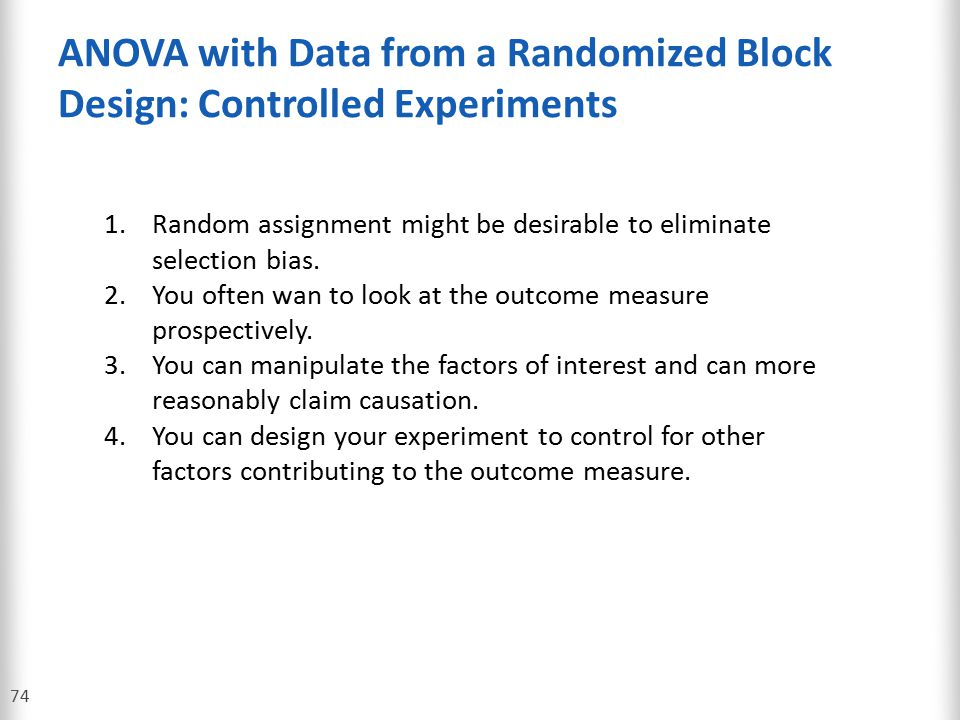 ANOVA with Data from a Randomized Block Design: Controlled Experiments