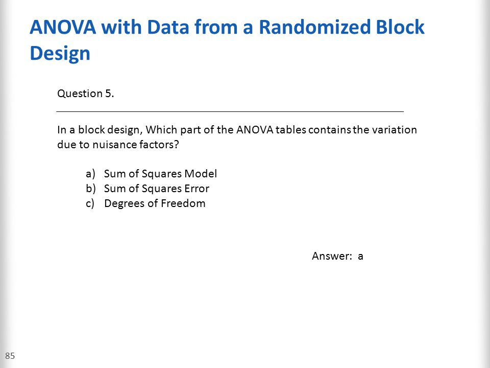 ANOVA with Data from a Randomized Block Design