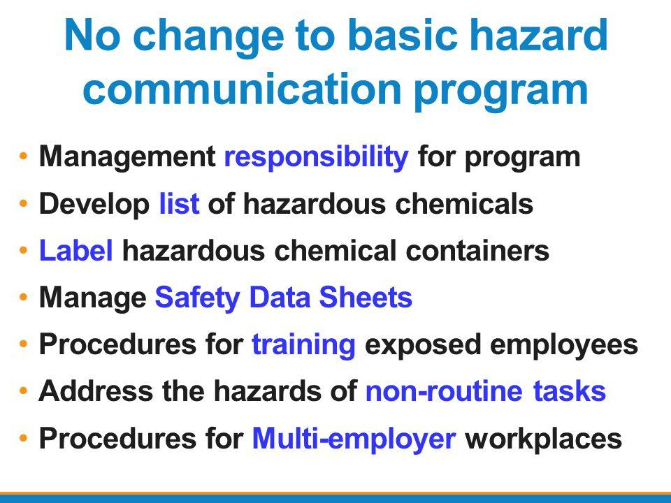 No change to basic hazard communication program