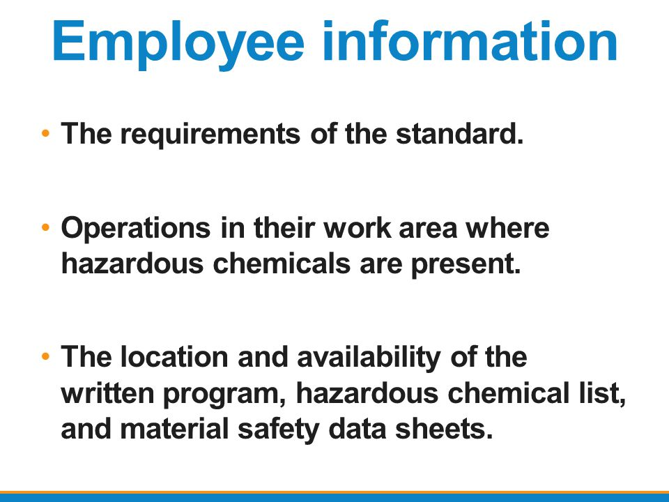 Employee information The requirements of the standard.