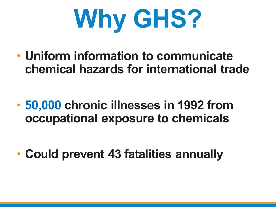 Why GHS Uniform information to communicate chemical hazards for international trade.