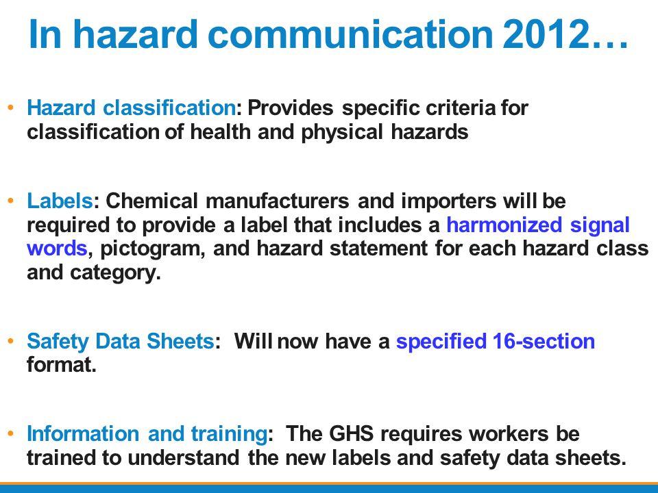 In hazard communication 2012…