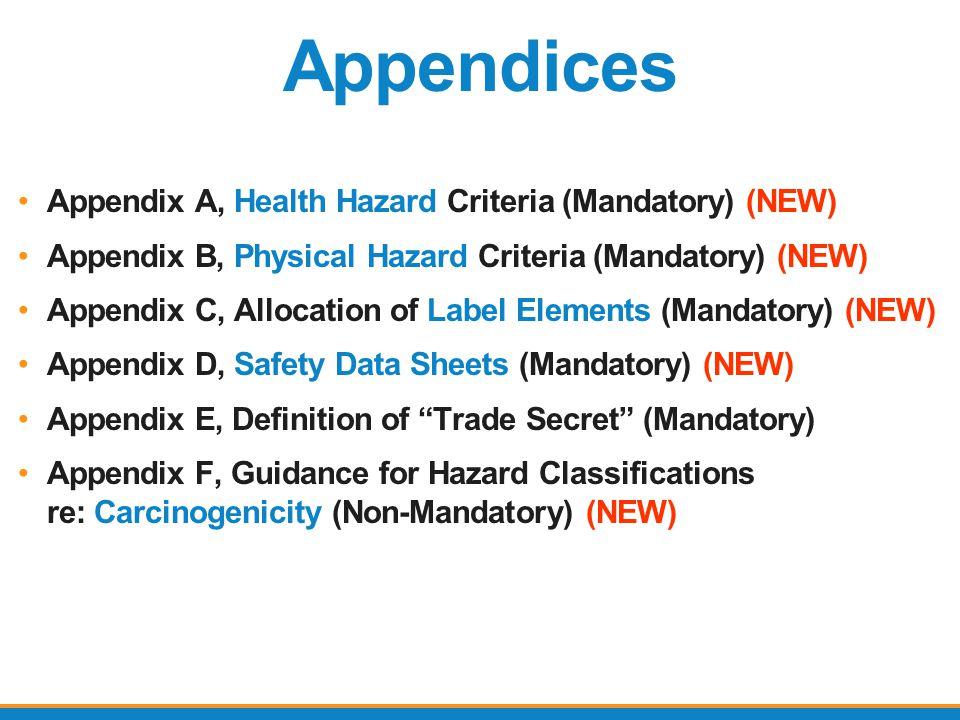 Appendices Appendix A, Health Hazard Criteria (Mandatory) (NEW)