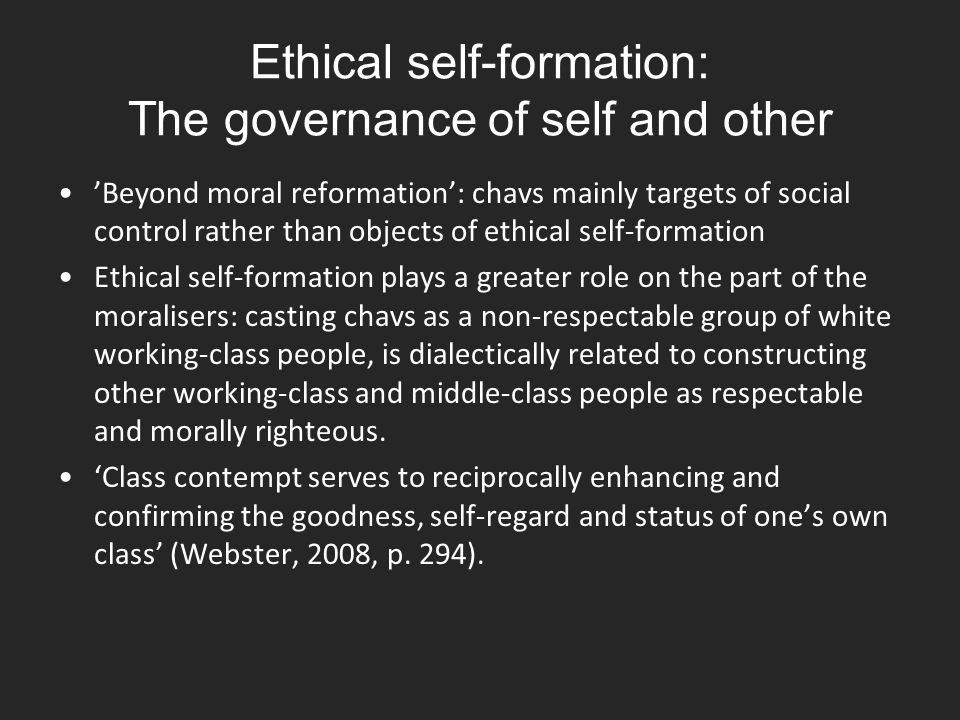 Ethical self-formation: The governance of self and other