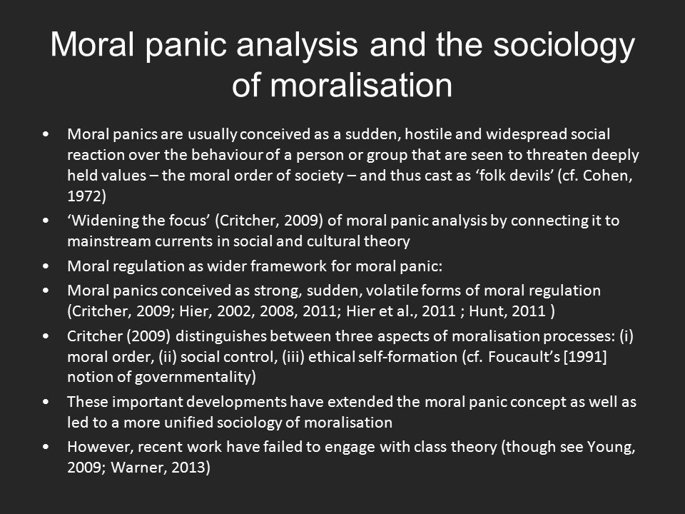 Moral panic analysis and the sociology of moralisation