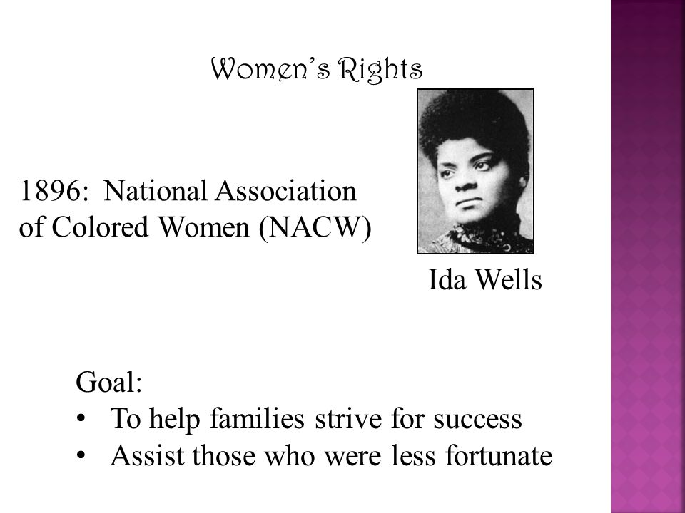 Women's Rights 1896: National Association of Colored Women (NACW) Ida Wells. Goal: To help families strive for success.