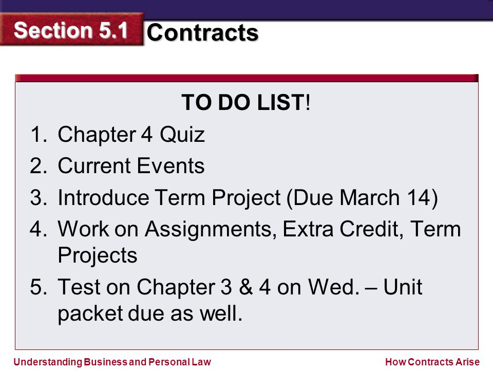 TO DO LIST! Chapter 4 Quiz. Current Events. Introduce Term Project (Due March 14) Work on Assignments, Extra Credit, Term Projects.