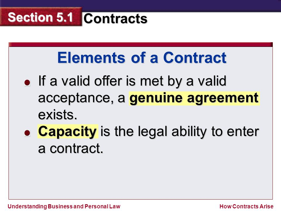 Elements of a Contract If a valid offer is met by a valid acceptance, a genuine agreement exists.