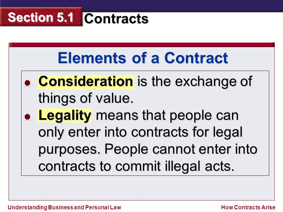 Elements of a Contract Consideration is the exchange of things of value.