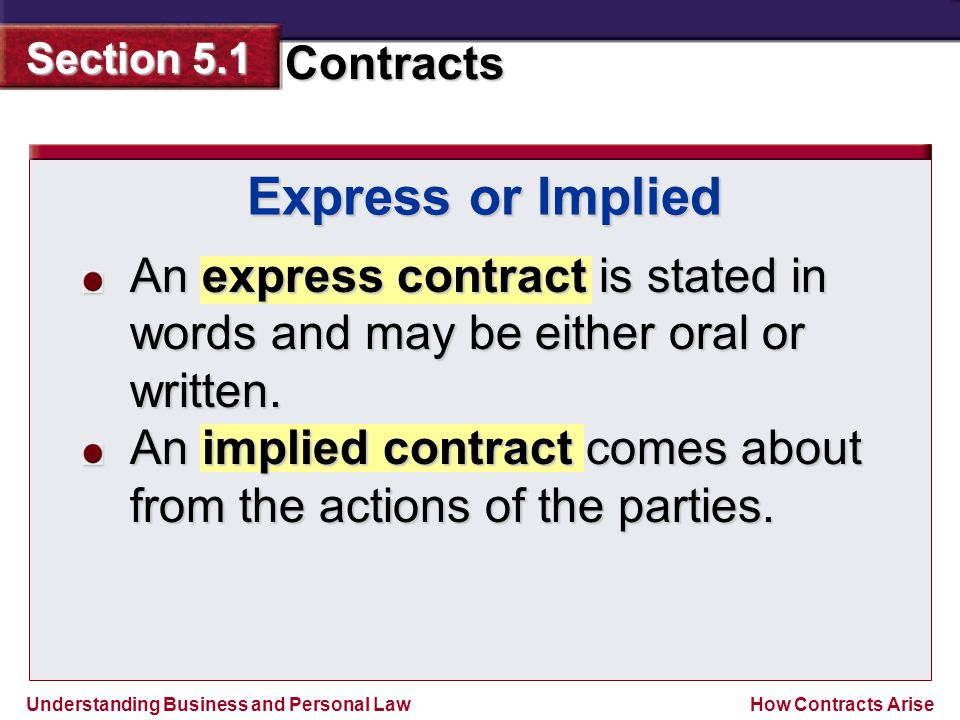 Express or Implied An express contract is stated in words and may be either oral or written.