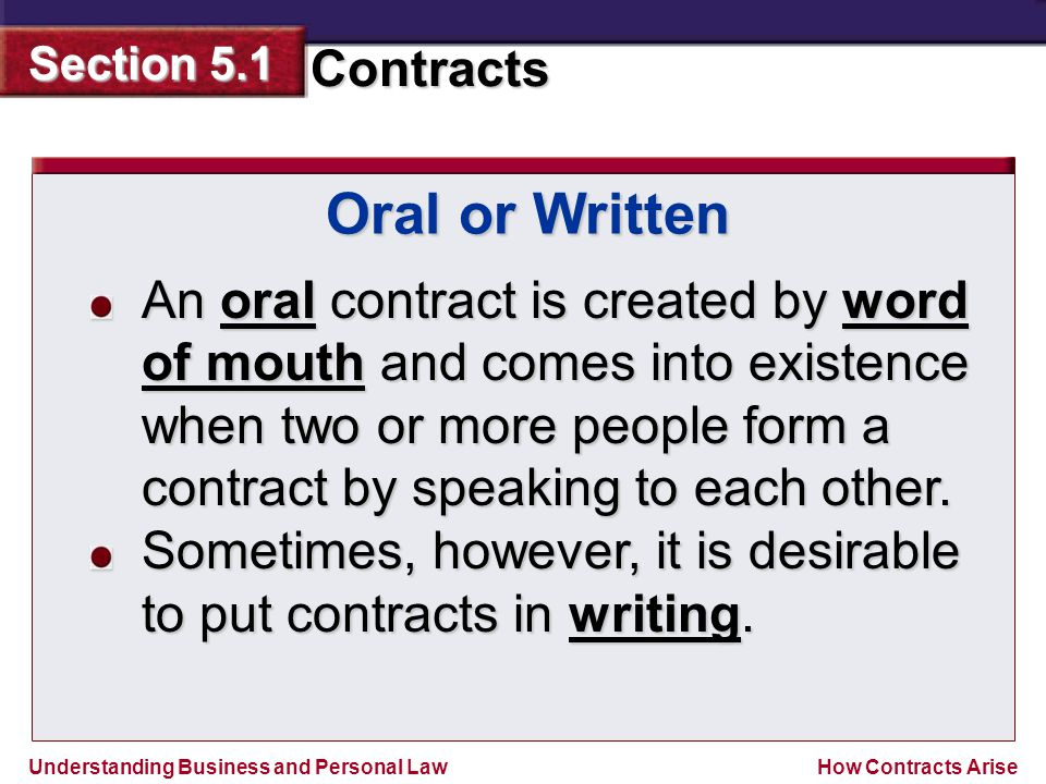 Oral or Written