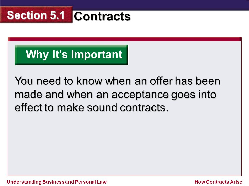 Why It's Important You need to know when an offer has been made and when an acceptance goes into effect to make sound contracts.