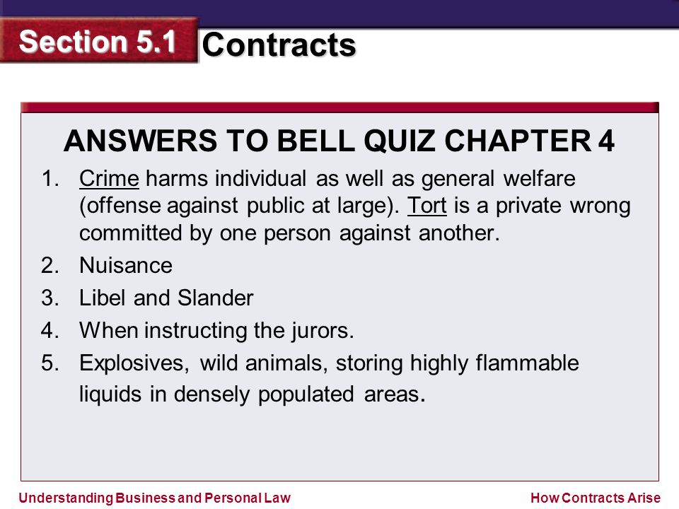 ANSWERS TO BELL QUIZ CHAPTER 4