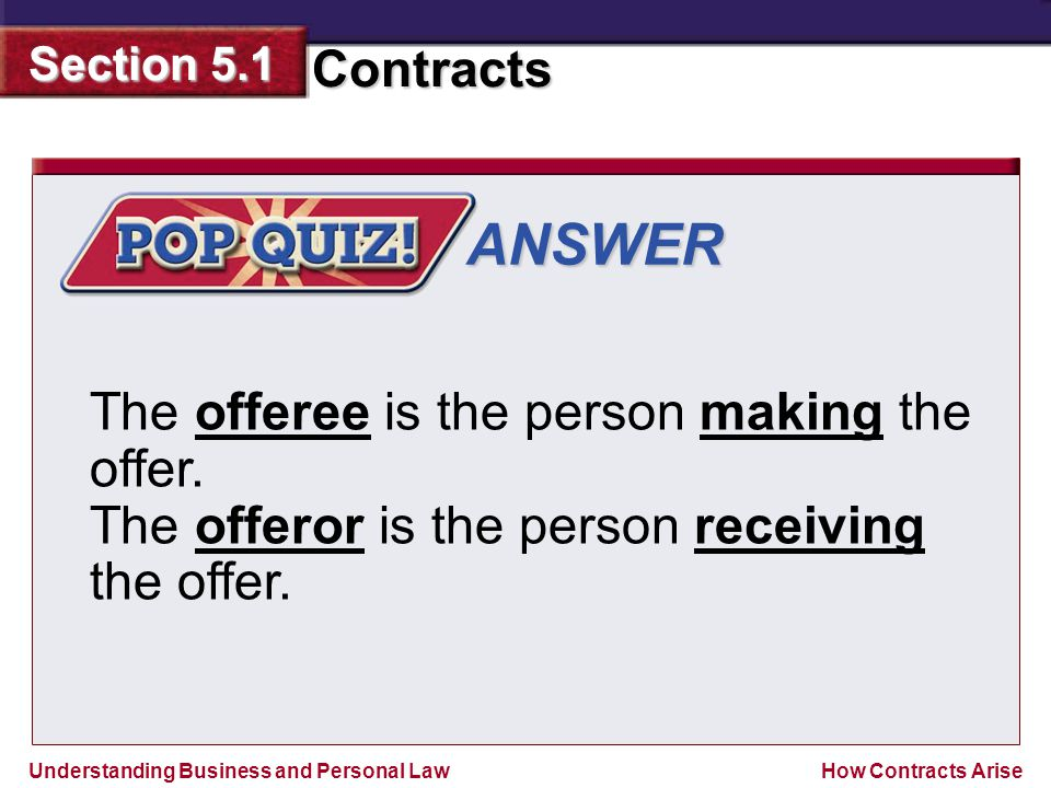 ANSWER The offeree is the person making the offer.