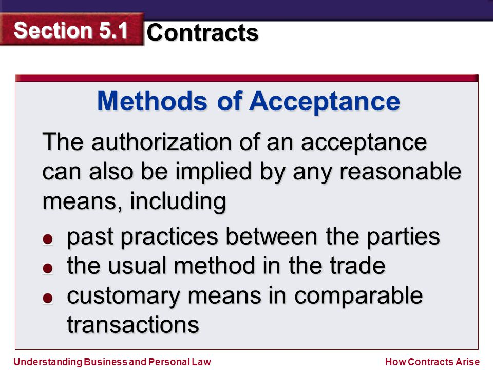 Methods of Acceptance The authorization of an acceptance can also be implied by any reasonable means, including.
