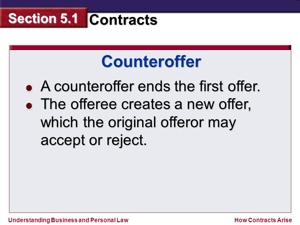 Counteroffer A counteroffer ends the first offer.