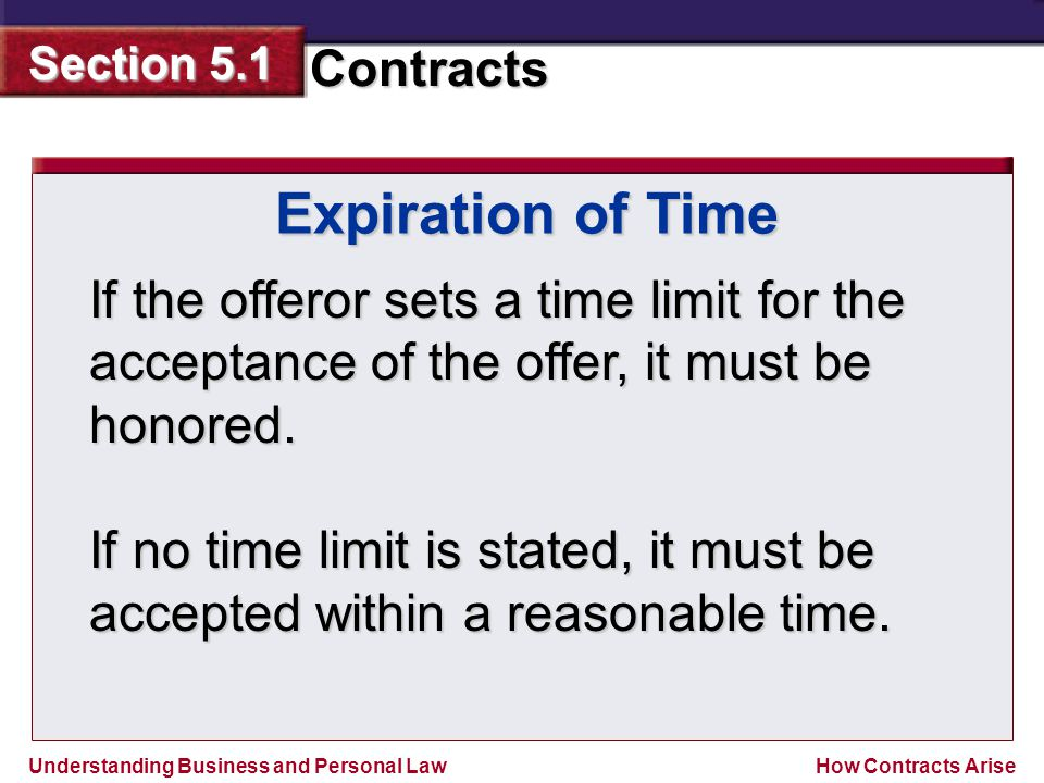 Expiration of Time If the offeror sets a time limit for the acceptance of the offer, it must be honored.