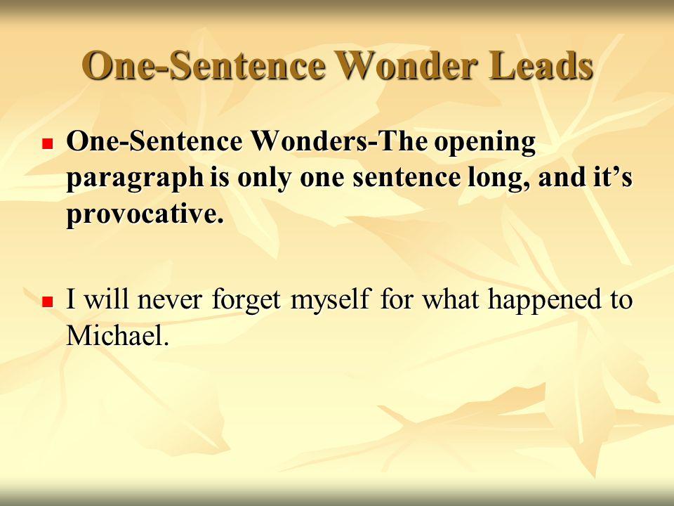 One-Sentence Wonder Leads