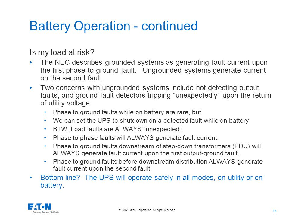 Battery Operation - continued