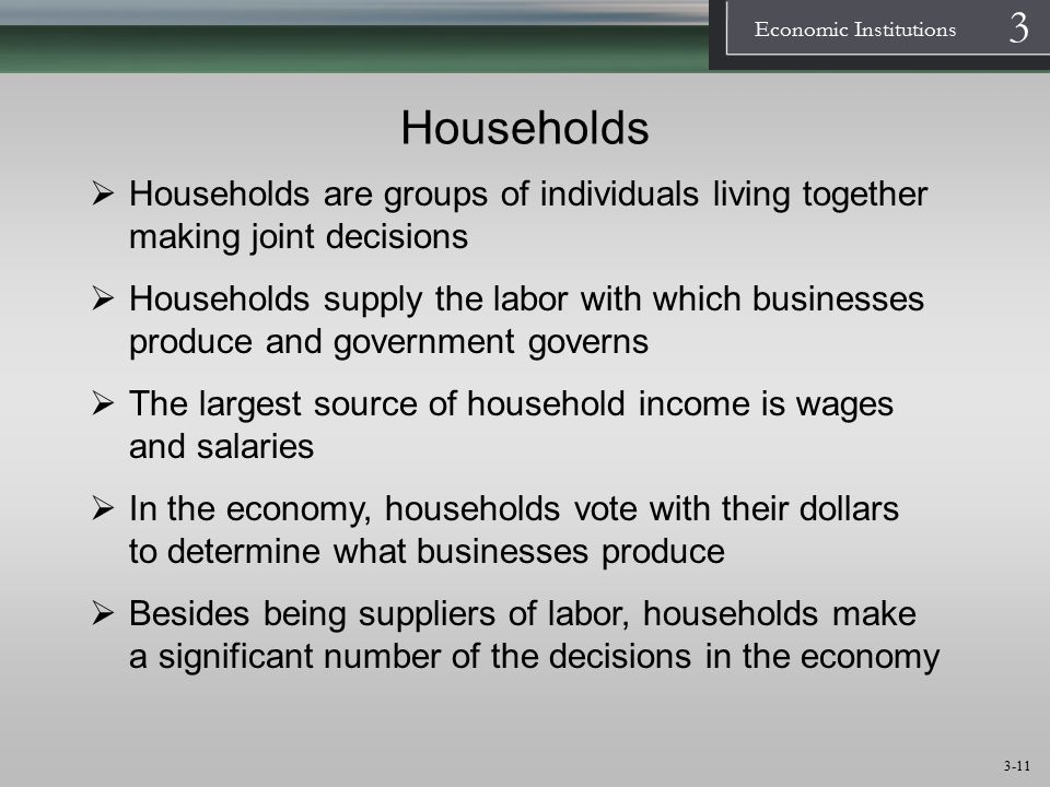 Households Households are groups of individuals living together making joint decisions.