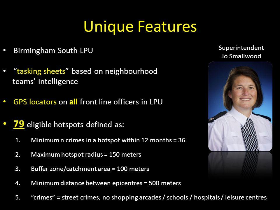 Unique Features 79 eligible hotspots defined as: Birmingham South LPU