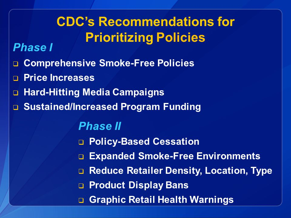CDC's Recommendations for Prioritizing Policies
