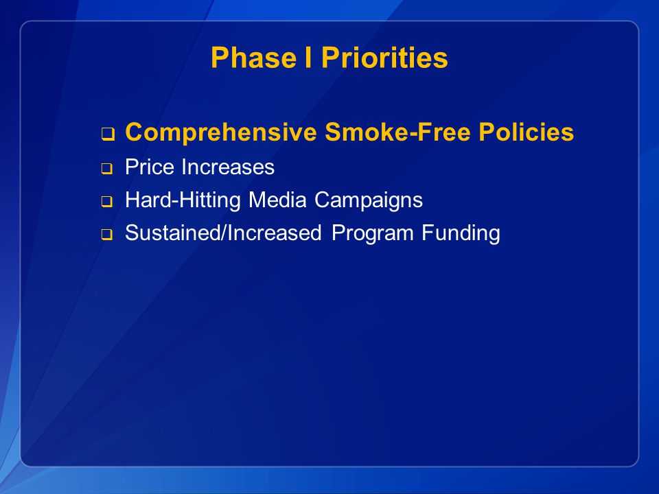 Phase I Priorities Comprehensive Smoke-Free Policies Price Increases