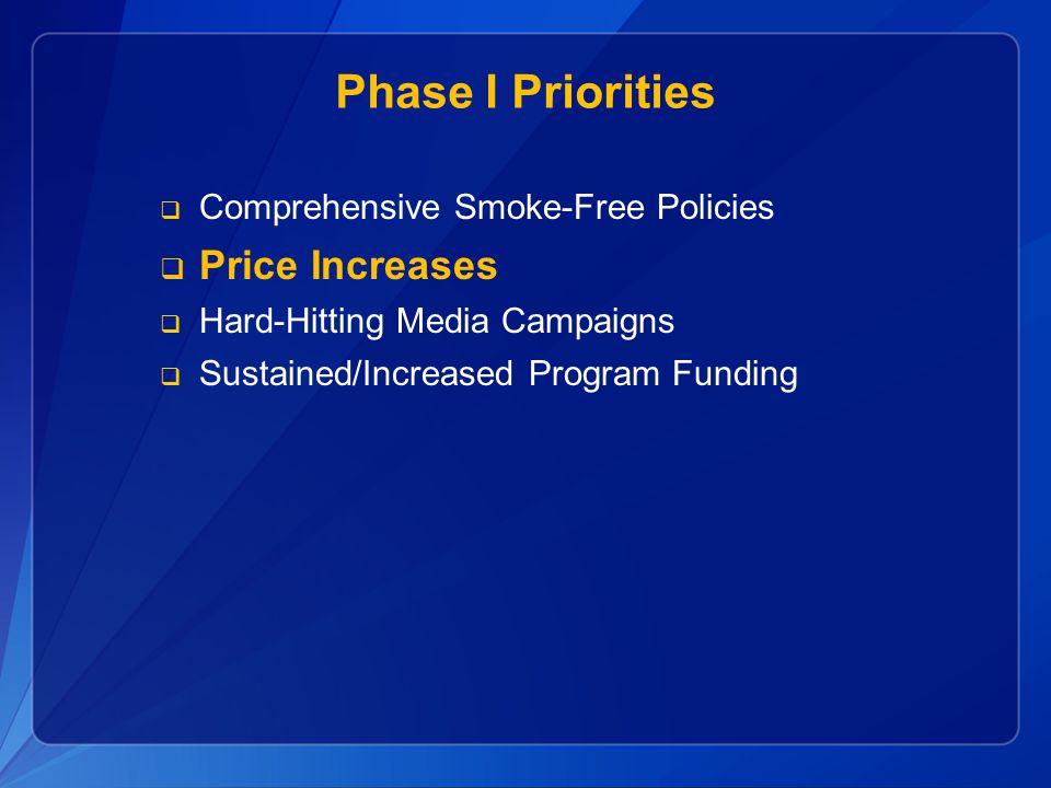 Phase I Priorities Price Increases Comprehensive Smoke-Free Policies