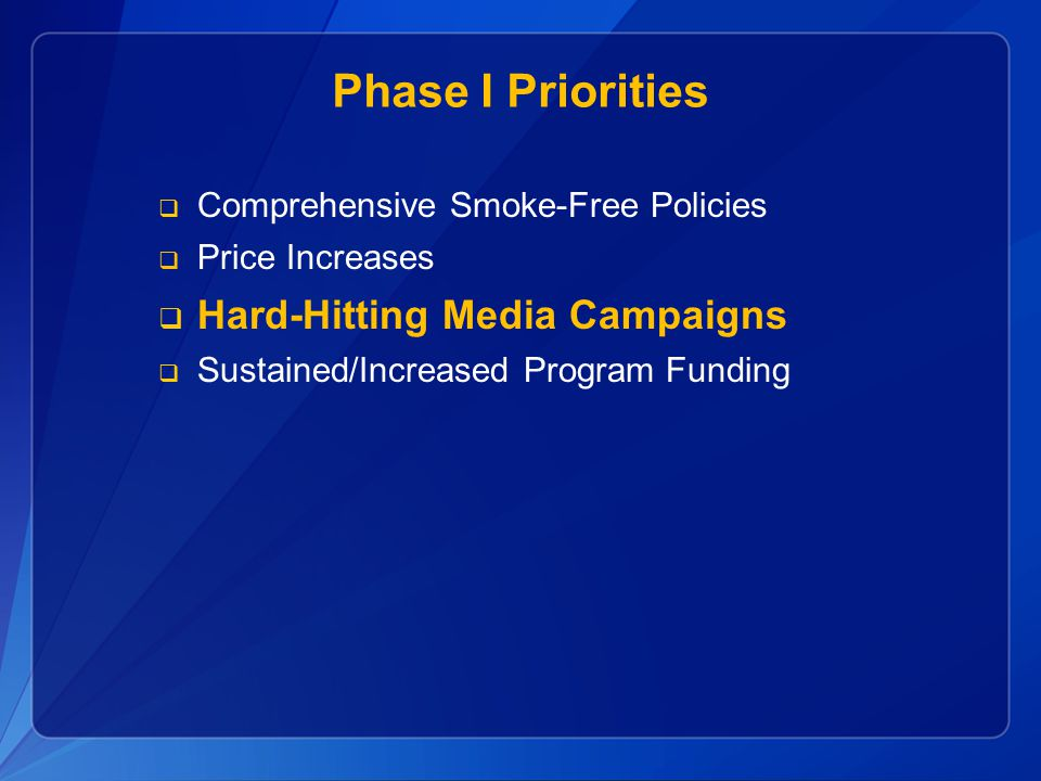 Phase I Priorities Hard-Hitting Media Campaigns