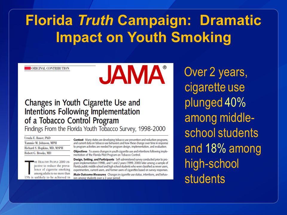 Florida Truth Campaign: Dramatic Impact on Youth Smoking