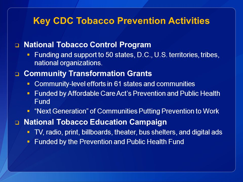 Key CDC Tobacco Prevention Activities