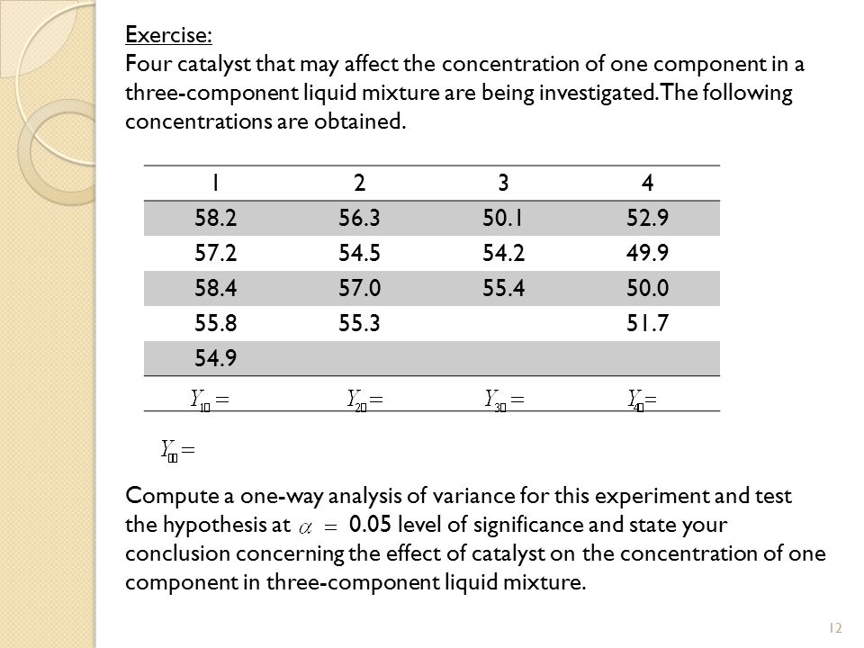Exercise: Four catalyst that may affect the concentration of one component in a three-component liquid mixture are being investigated. The following concentrations are obtained. Compute a one-way analysis of variance for this experiment and test the hypothesis at 0.05 level of significance and state your conclusion concerning the effect of catalyst on the concentration of one component in three-component liquid mixture.