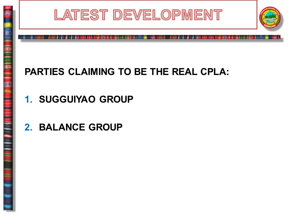 LATEST DEVELOPMENT PARTIES CLAIMING TO BE THE REAL CPLA: