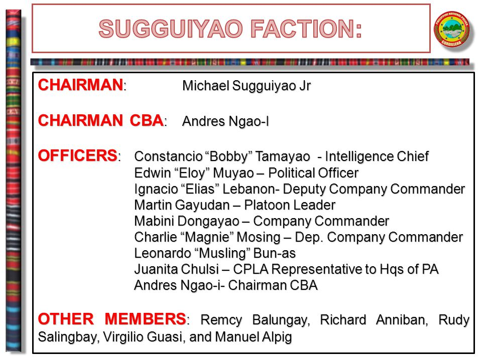 SUGGUIYAO FACTION: CHAIRMAN: Michael Sugguiyao Jr