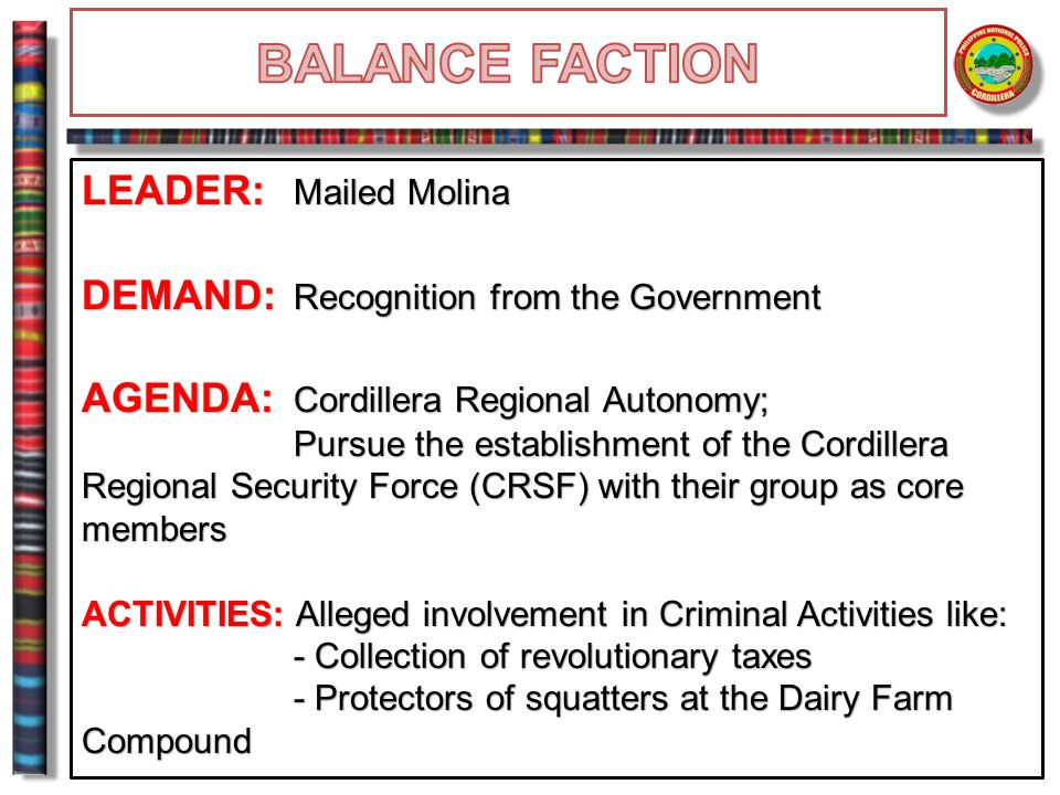 BALANCE FACTION LEADER: Mailed Molina