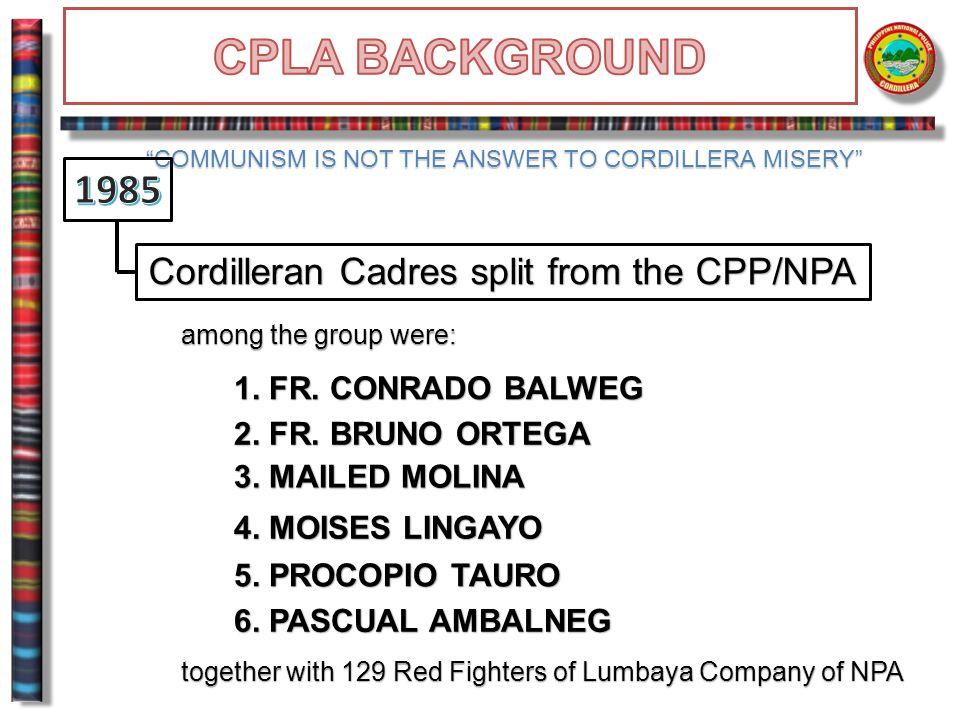 Cordilleran Cadres split from the CPP/NPA