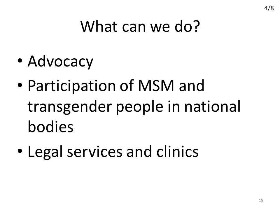Participation of MSM and transgender people in national bodies