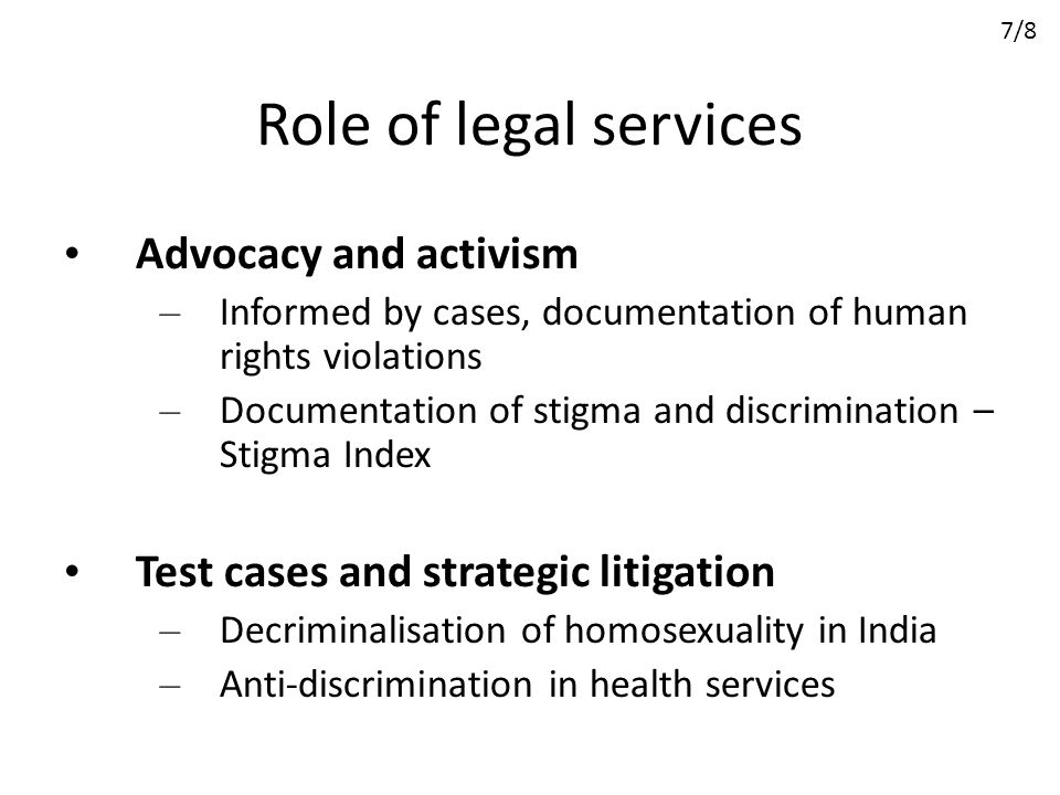 Role of legal services Advocacy and activism