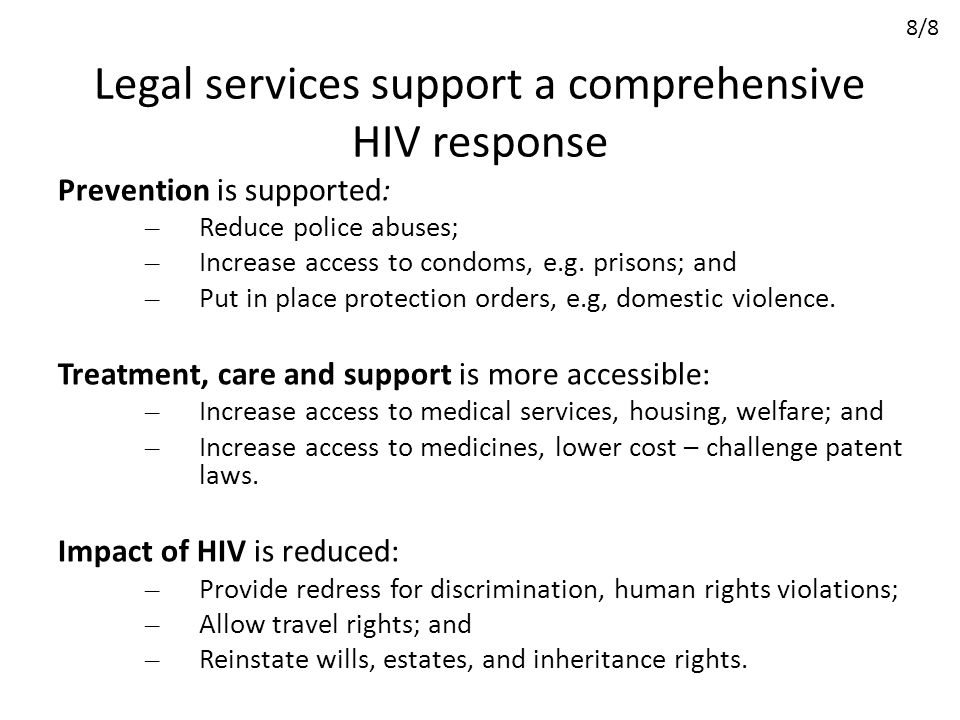 Legal services support a comprehensive HIV response