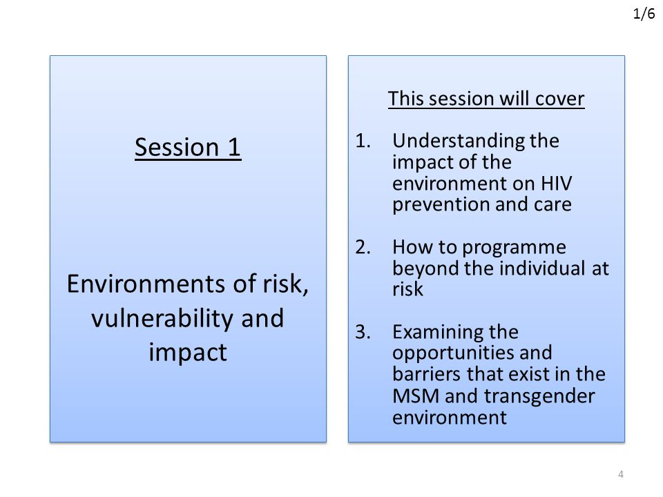 Session 1 Environments of risk, vulnerability and impact