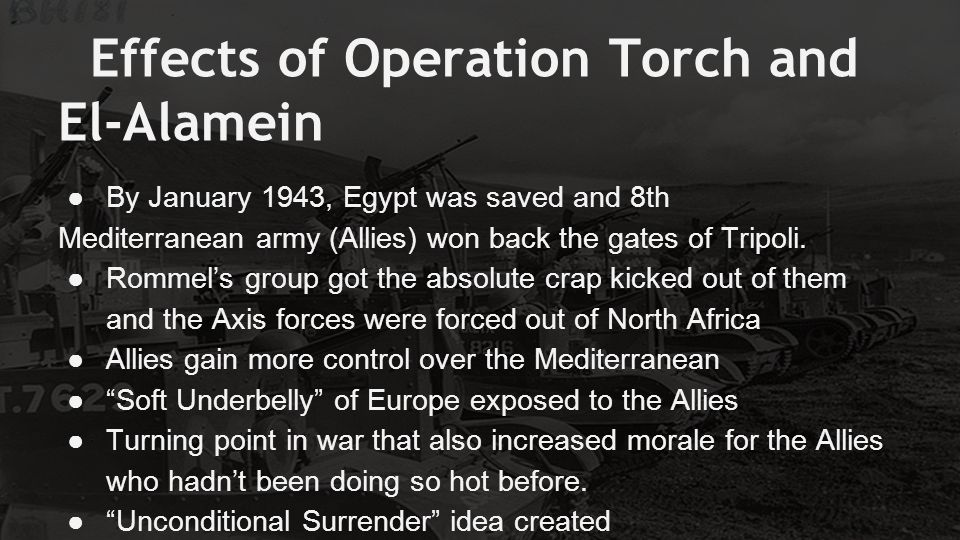 Effects of Operation Torch and El-Alamein