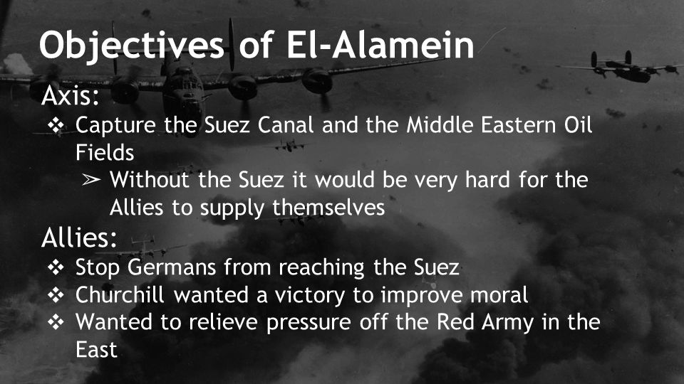Objectives of El-Alamein