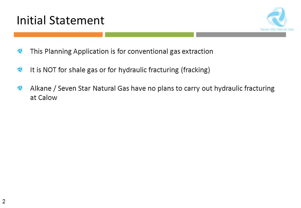 Initial Statement This Planning Application is for conventional gas extraction. It is NOT for shale gas or for hydraulic fracturing (fracking)