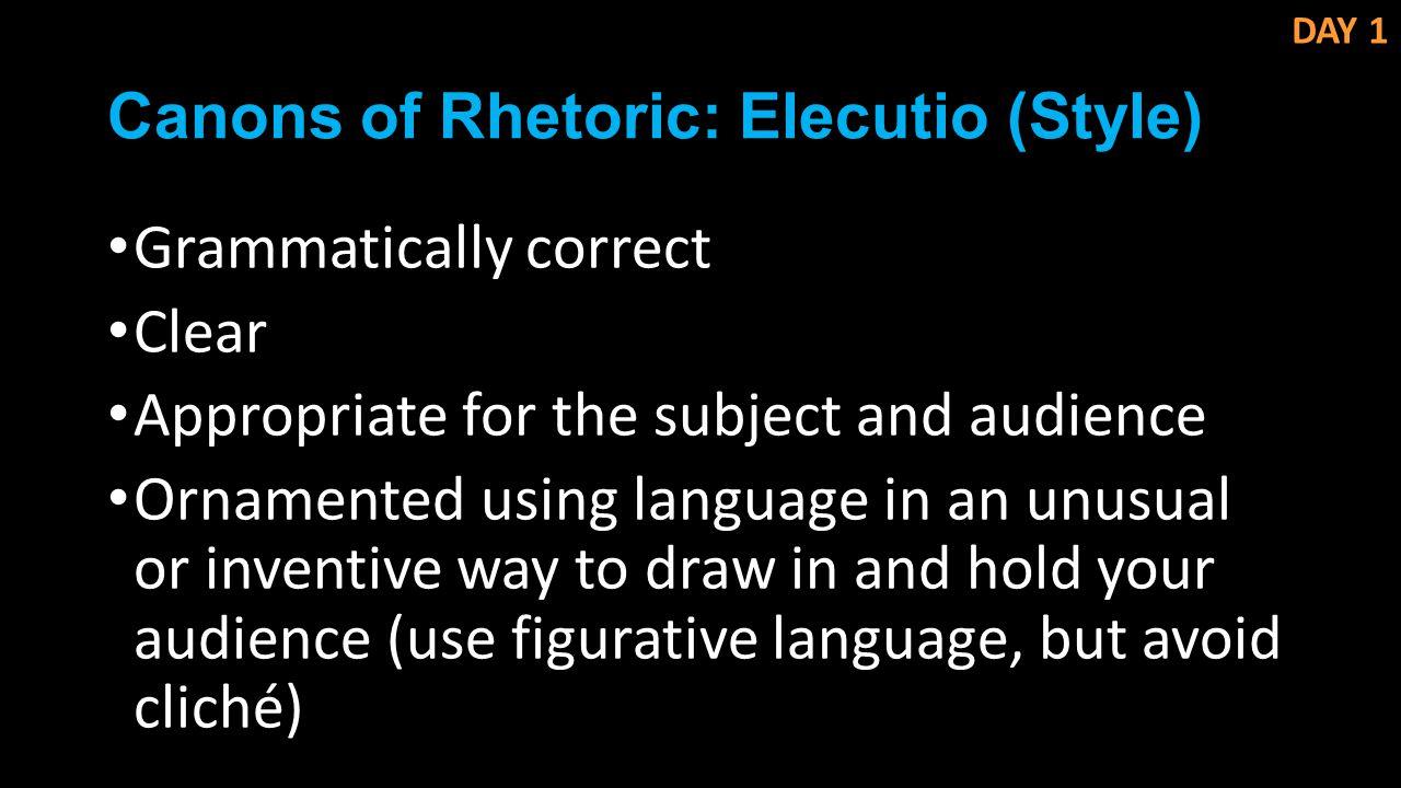 Canons of Rhetoric: Elecutio (Style)