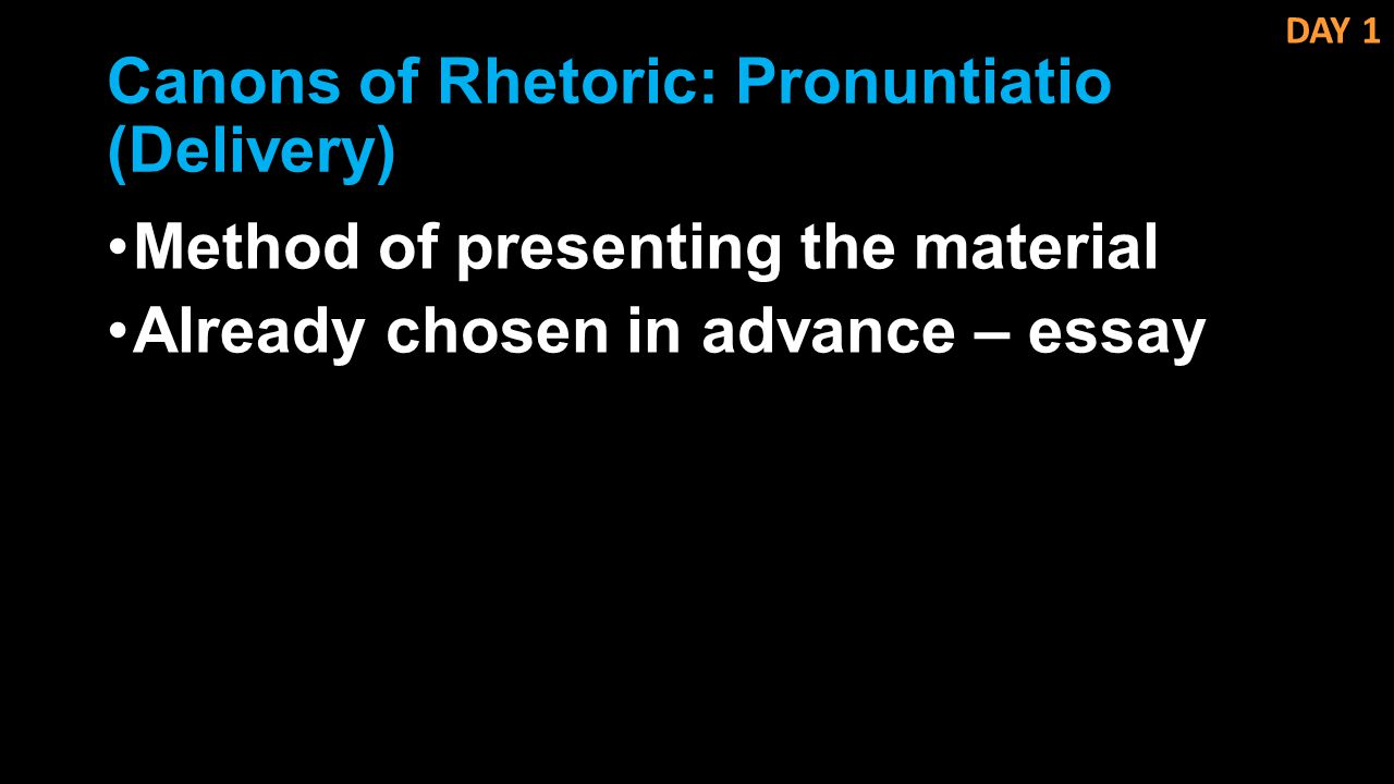 Canons of Rhetoric: Pronuntiatio (Delivery)