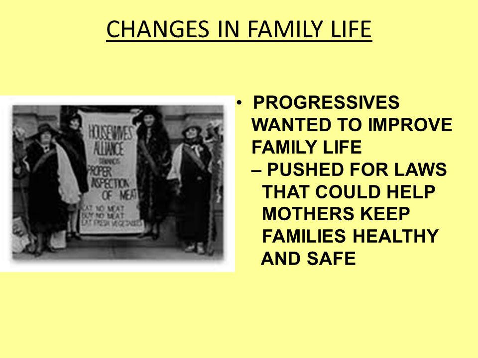 CHANGES IN FAMILY LIFE PROGRESSIVES WANTED TO IMPROVE FAMILY LIFE