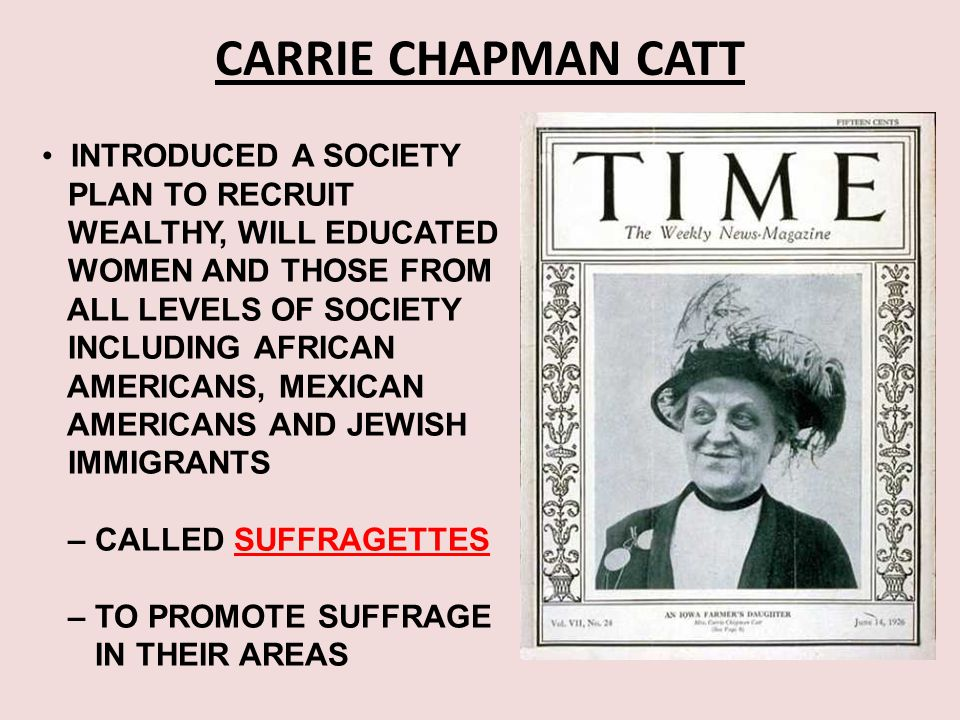 CARRIE CHAPMAN CATT INTRODUCED A SOCIETY PLAN TO RECRUIT